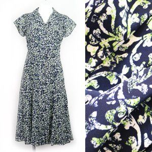 Liz Claiborne Shirtdress Navy Green Gothic Print 6